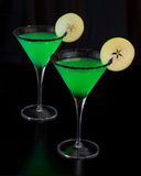 Apple Martinis Rimmed med svart socker Royaltyfria Bilder