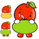 The Apple Mascot holding a big board with both hands. Fruit Char Royalty Free Stock Image