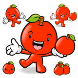 Apple mascot the left hand guides and the right hand is holding Royalty Free Stock Images