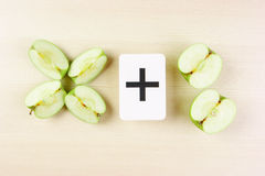 Apple with math problems Stock Photos