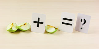 Apple with math problems. School card and apple with math problems stock images