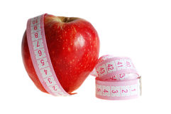 Apple and Measuring Tape. Isolated stock photo