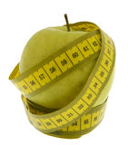 Apple with measuring tape Stock Photos