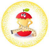 Apple with measuring tape. Icon apple with measuring tape Stock Images