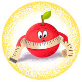 Apple with measuring tape. Icon apple with measuring tape Stock Image