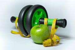 Apple, measuring tape.and simulator Stock Images