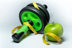 Apple, measuring tape.and simulator Stock Photo