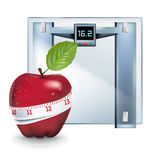 Apple with measuring tape and weight scale isolated Stock Photo