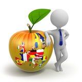 Apple med översikten, flaggor och affärsmannen för europeisk union royaltyfri illustrationer