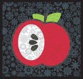 Apple med blommadekoren. Arkivbild