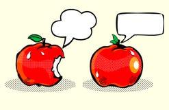 Apple med bubblaanförande/frukt i popkonst Royaltyfri Fotografi