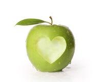 Apple med hjärtaform Fotografering för Bildbyråer