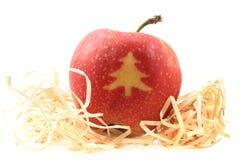 Apple med julsymboler Arkivfoto