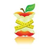Apple med måttbandet Royaltyfri Fotografi
