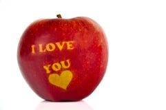 Apple med orden ÄLSKAR JAG DIG Royaltyfri Fotografi