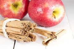 Apple med recept för pinnekanel royaltyfria bilder