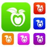 Apple med samlingen för sidauppsättningfärg Arkivfoto