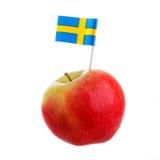 Apple med svenskflaggan Royaltyfria Bilder