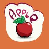 Apple med titeln på etiketten Klistermärke med ecoprodukten och Royaltyfria Foton