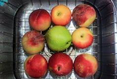 Apple, melocotón y pera Foto de archivo