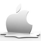 Apple melt logo. 3d apple melt logo on white Royalty Free Stock Images