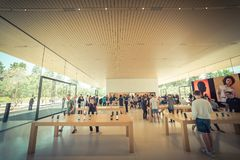 Apple merchandise retail store at Apple Park Visitor Center stock photos