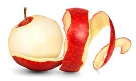 Apple met de huid in een spiraal stock afbeeldingen