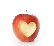 Apple met hartvorm Stock Afbeelding
