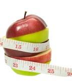 Apple met het meten van band op witte achtergrond 1 Royalty-vrije Stock Fotografie