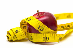 Apple with metre Stock Photo