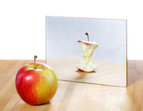 Apple in the mirror image Stock Photo