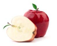 Apple mit Blatt stockbilder