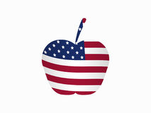 Apple mit der amerikanischen Flagge Vektor stock abbildung