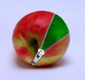 Apple mit einem zipp Stockbilder