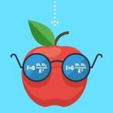 Apple mit Gläsern, Konzept Stockfotos