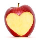Apple mit Innerem Stockfotografie
