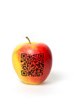 Apple mit qr Code Stockfotografie