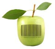Apple mit Strichkode Stockfoto