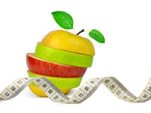 Apple mix with measuring tape Royalty Free Stock Photography