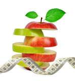 Apple mix with measuring tape Royalty Free Stock Photo