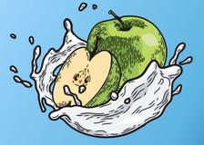 Apple mjölkar färg royaltyfri illustrationer