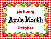 Apple månad, rött mattt för ginghamborddukställe Arkivbild