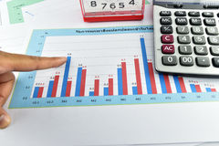 Apple, money,clock, telephone and calculator placed on document. Stock Photo