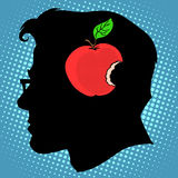 Apple mordido na mente um conhecimento do conceito do negócio ilustração royalty free