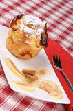 Apple muffin served on awhite plate Royalty Free Stock Image