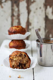 Apple muffins. With chocolate and nuts Royalty Free Stock Photography