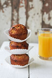 Apple muffins. With chocolate and nuts Royalty Free Stock Images
