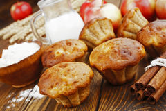 Apple muffins with cinnamon. On the table royalty free stock photography