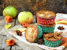 Apple muffins with cinnamon Stock Photos