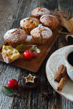 Apple muffins, coffee and paradise apples Royalty Free Stock Photography